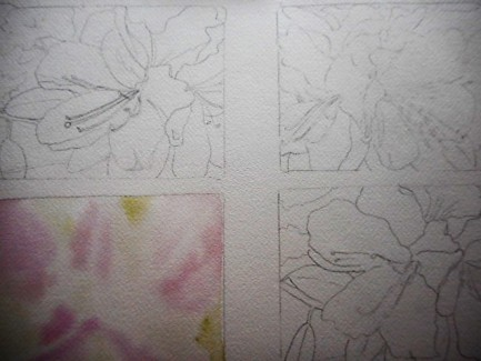 Here I have penciled in 3 and wet on wet the underpainting bottom left