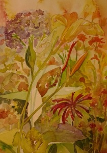 "W.I.P.- so here I painted over whites I should have left in the flowers...so I will need to get really dark here if this is to meet my ""standards"" ;)"