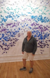Me with 1000 cranes- folks in the community made the cranes- then together we strung them and hung them!