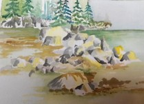 Done- I added Lemon Yellow to the rocks to try to finish this one- Meh- maybe tomorrow...