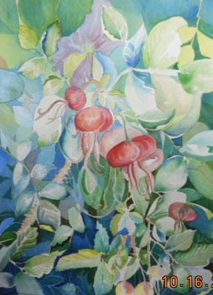 Working through the middle parts-W.I.P. still a bit lost in the forest but I glazed some of the leaves blue to help them move back and have the red rose hips pop to the front...