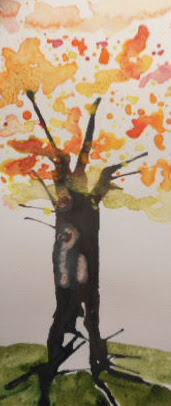 W.I.P. another card blown tree trunk and spattered leaves