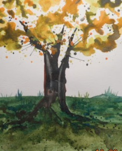 W.I.P. a card - blown tree trunk and spattered leaves