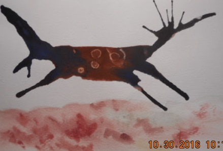 W.I.P. a card done by blowing the paint around and drop alcohol on the brown when it was wet