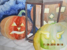 W.I.P. once again foiled by NOT drawing what is there....lots of trouble with the lantern but the glow from the pumpkins is starting to work. Wiin some and lose some! Just keep trying!