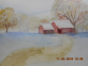 sketch of barns from my head -dry brush on foliage