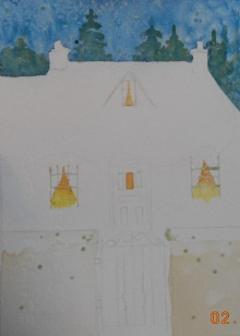 W.I.P. painted back ground and trying to capture the glow of the windows