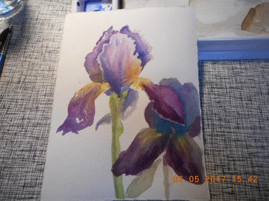 W.I.P.- here I glazed it over with Winsor Blue...Lost the pretty yellow..not sure if I should have left well enough along!