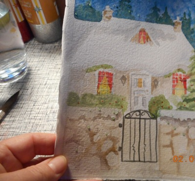 W.I.P. painted the gate and a bit more detail on rock wall also removed the white out. I think I will flick on some gouache to give illusion of snow falling. I just need to decide if there is enough contrast.