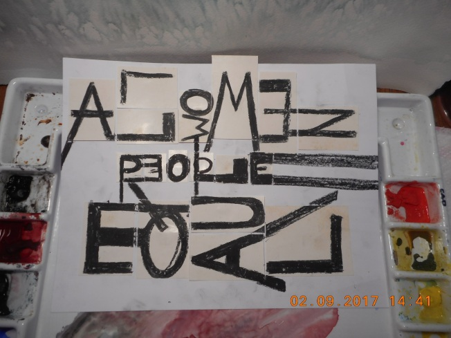 Here is this week's class project using words as art- can you tell where I got my inspiration?