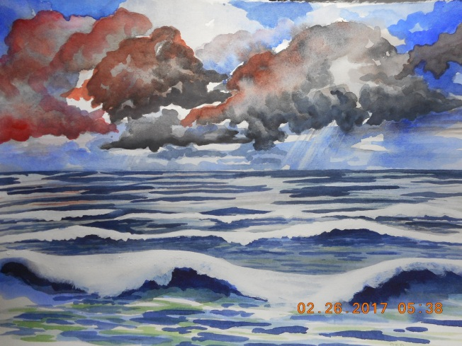 I think I am done- lightened the clouds with gouache and put a few more distant waves in with gouache :)