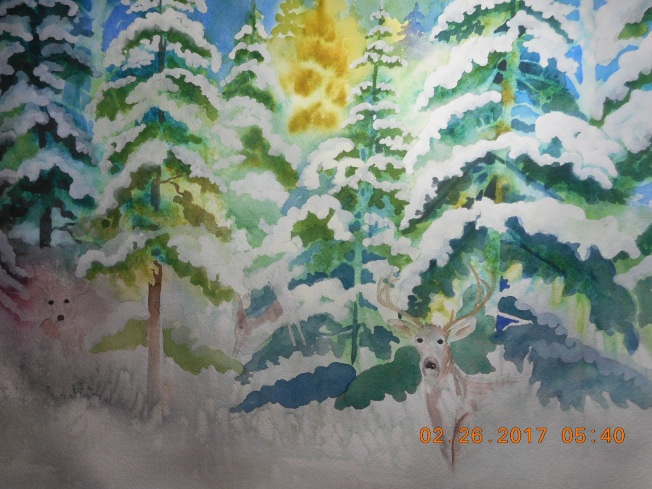 what will I do with the foreground? trying to paint some deer for a change.