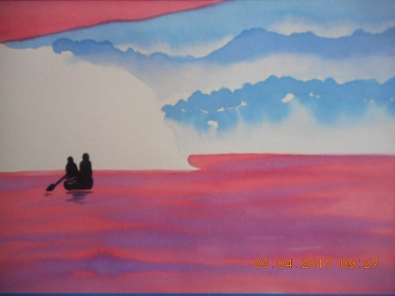 """W.I.P. here I will show how to add more wave and shadows so teh people inteh boat have a """"place to be"""" in this painting."""