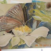 W.I.P. coming along...I think I need to fix the upper left corner and unify behind the flower on the right.