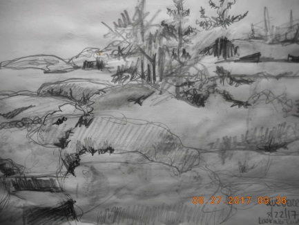 Value sketch of Bleuberry Hill looking back toward Moose Island