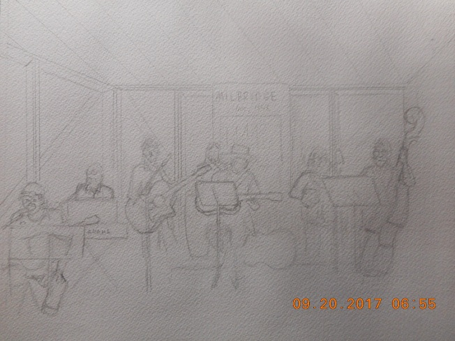Sketch of band playing in Milbridge- Cole Creek- they were good!