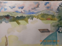 W.I.P. Over looking valley in Vermont with plein aire group