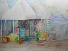 2013- Settled under the shade- this is mixed media- I used watercolor pencils