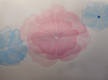 W.I.P. Thin washes on hot pressed paper. Using permanent rose and phtalo blue