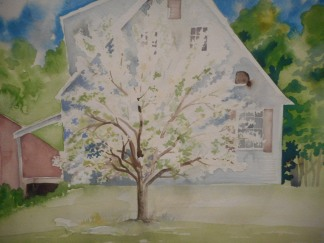 W.I.P straightened the right side of the house with Gouache.